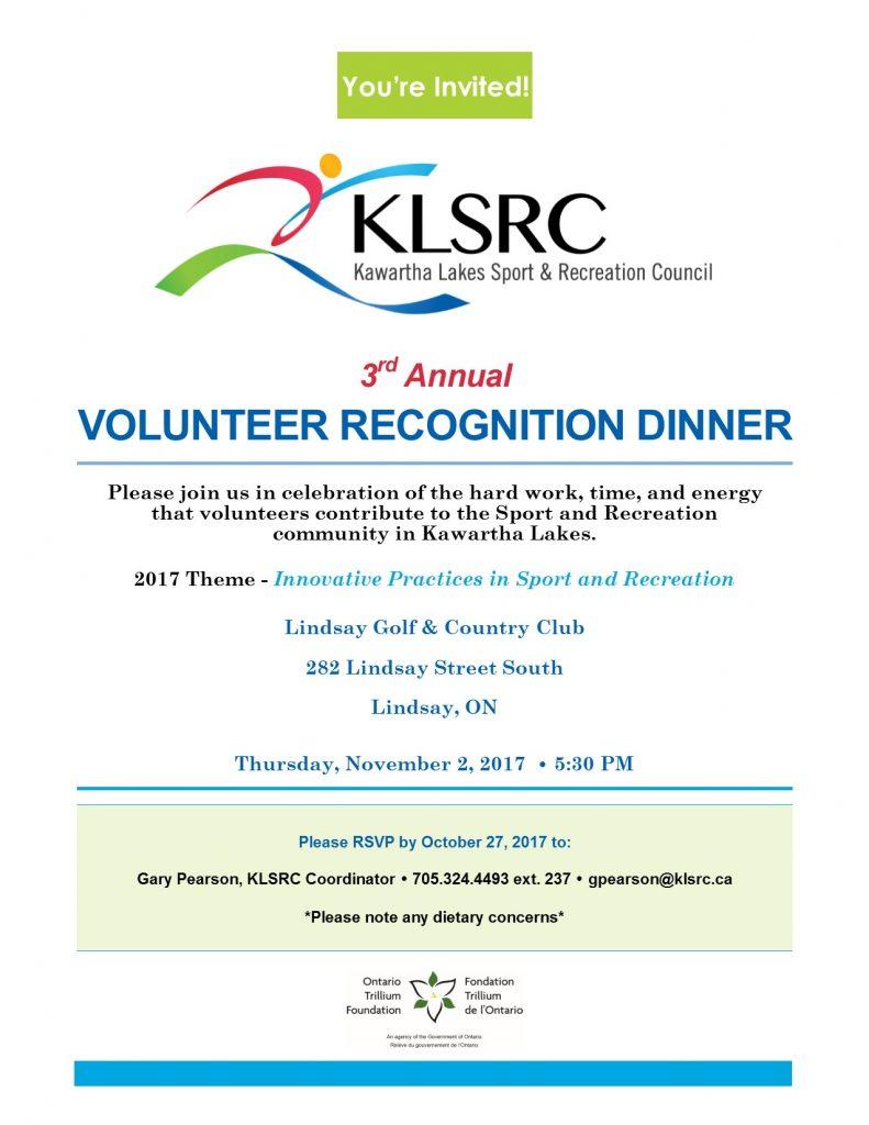 Volunteer Recognition Dinner invitation