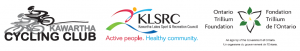 Logos for the Kawartha Cycling Club, Kawatha Lakes Sport and Recreation Council, and Ontario Trillium Foundation